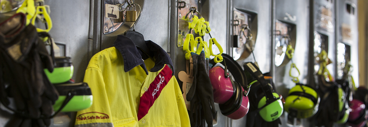 Safety equipment hanging on lockers